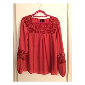 New Directions Coral Lace Top